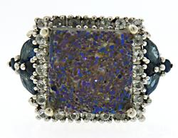 Purple Drusy and Blue CZ Ring