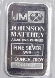 1 ounce Fine Silver JM Bar