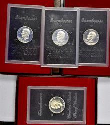 4 x Proof Silver Ike Dollars, 1971 x 3, 1974