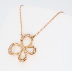 10K Rose Gold Diamond Butterfly Necklace