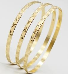 Trio of 14kt Solid Yellow Gold Bangle Bracelets- 17+ Grams of Gold!
