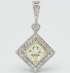 14KT White Gold Fancy Yellow Diamond Pendant