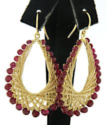 18kt Ruby and Chain Dangle Earrings