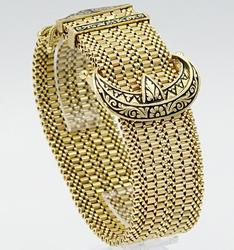Wide 18KT Yellow Gold Belt Buckle Bracelet