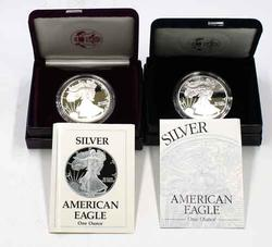 1988 and 1997  Silver Proof Eagles with boxs papers