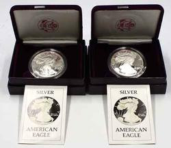 2 1986 Silver Eagle Proofs with Boxs and Papers