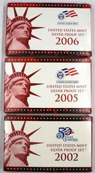 2002 2005 and 2006 Silver US Proof Sets