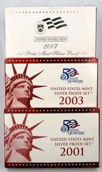 2001 2003 &2007 US Silver Proof Sets in original boxs