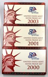 2000 2001 & 2003  US Silver Proof Sets in original boxs