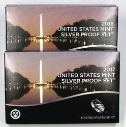 2017 & 2018 Proof Silver US Proof Sets with boxs papers