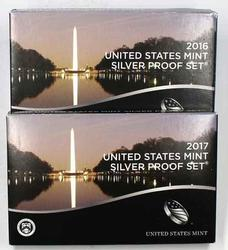 2016 & 2017 Proof Silver US Proof Sets with Boxs Papers