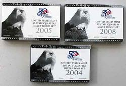 2004 2005 and 2008 US Silver State Quarter Proof Sets