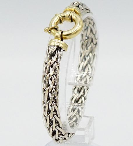 Sophisticated 14kt Solid Gold Byzantine Chain Bracelet