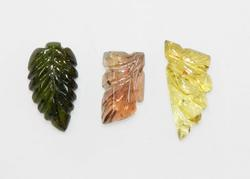 Hand-carved Tourmaline - Lot of 3
