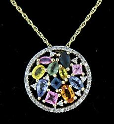 Flashy Multi Gemstone Circle Necklace