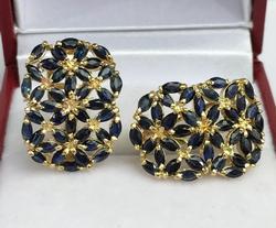 5+Carat Natural Blue Sapphire & 14kt Gold Earrings