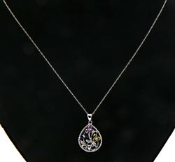 Multi Gemstone White Gold Necklace