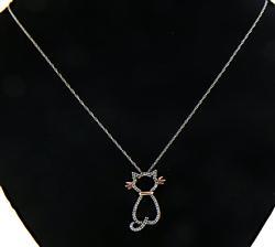 Cute Diamond Cat Silhouette Necklace