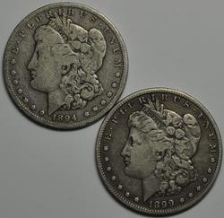 1894 O and 1899 S Morgan Dollars