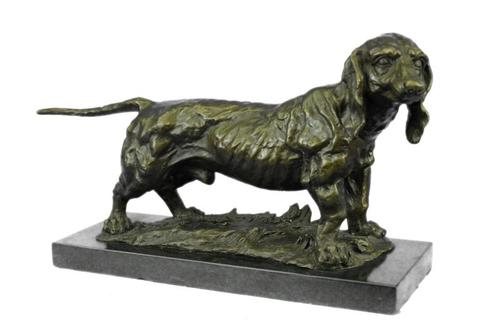Large Basset Hound Dog Art Deco Bronze Sculpture