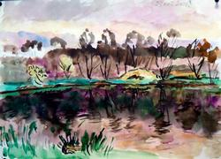 Great Autumn Lake Landscape Watercolor on Paper