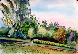 Original Summer Slope Landscape Watercolor on Paper