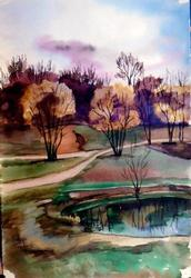 Nice Lonely Lake Landscape Watercolor on Paper