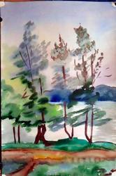 Outside, Original Watercolor on Paper by Basov