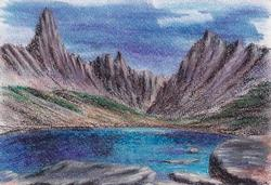 Alpine lake, Pastel on Paper by D.V. Tim