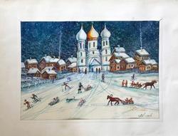Russian Winter, Watercolor on Paper by M.V. Kolomiets