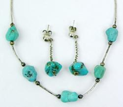 Sterling Turquoise Necklace & Earrings