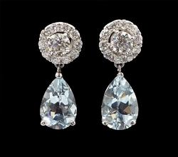 18kt White Gold Diamond and Aquamarine Earrings-2 Ways!