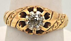 Gents 14kt Gold 1ctw Diamond Ring, Heavy