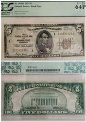 1929 FRBN Minneapolis $5 64PPQ