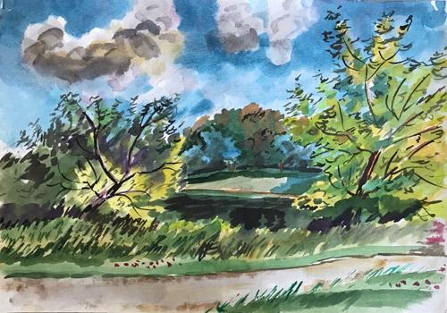 Nice Summer Forest Landscape Watercolor on Paper