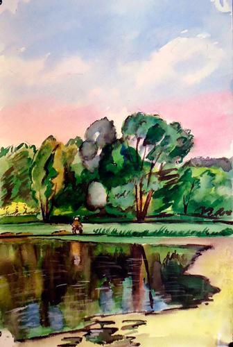 Amazing Fisherman Landscape Watercolor on Paper