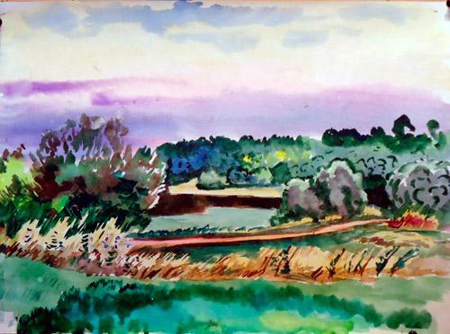 Nice Slope at Sunset Landscape Watercolor on Paper