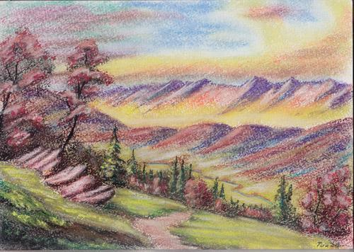 Valley View, Pastel on Paper by D.V. Tim