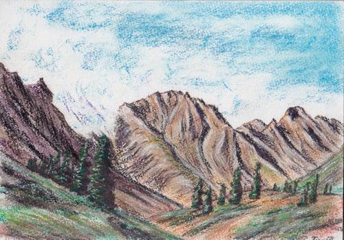 Descent of a Cloud, Pastel on Paper by D.V. Tim