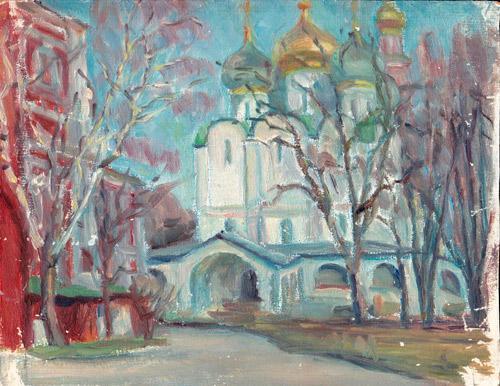 Original Oil by Gurov, Novodevichy Convent
