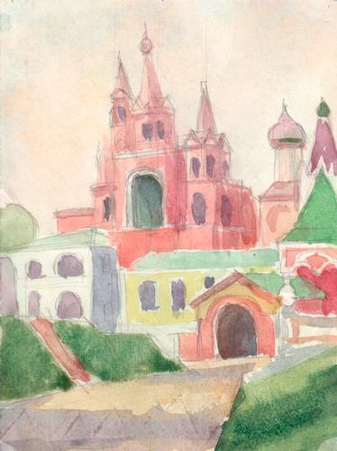 Izmaylovo Kremlin, Watercolor on Paper by Y.S. Gurov