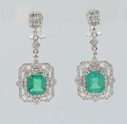 14KT White Gold Emerald & Diamond Dangle Earrings