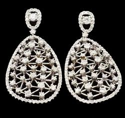 Eye Catching 14kt White Gold Cast Diamond Earrings