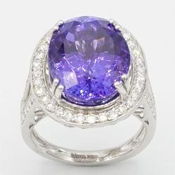 Brilliant 12.39ct Tanzanite with Diamonds Cocktail Ring
