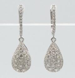 Dainty 18kt White Gold Tear Drop Diamond Earrings