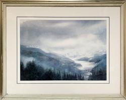 Mountain Scenery Offset Lithoprint Framed