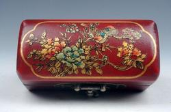 Birds and Flowers Red Finished Wooden Jewelry Box