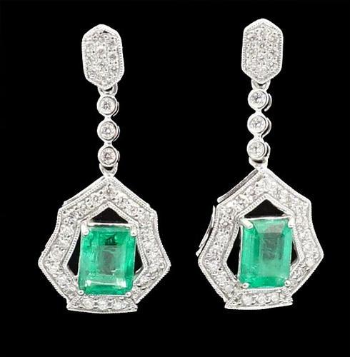 Enchanting Emerald and Diamond Platinum Earrings