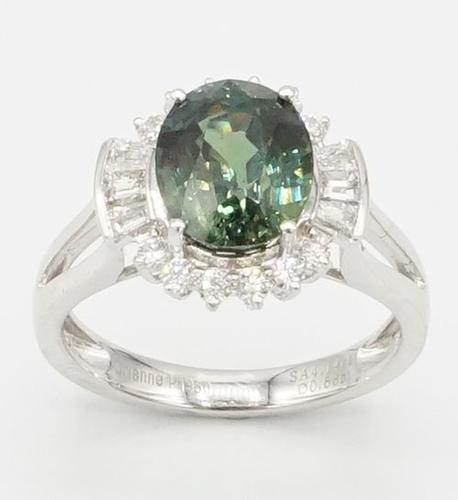 Rare 4.14ct Green Sapphire and Diamond Platinum Ring