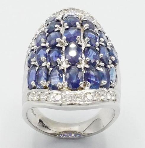 Vivid 14kt White Gold Sapphire and Diamond Cocktail Ring